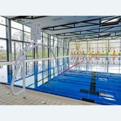 Sport-Thieme Durchschwimmbogen, Alu, weiß einbrennlackiert, inkl. Hinweisschild