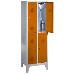 """C+P Doppel-Garderobenschrank """"S 2000 Classic"""", Abteilbreite 40 cm mit 15 cm hohen Füßen Lichtgrau (RAL 7035), 185x81x50 cm/ 4 Fächer"""
