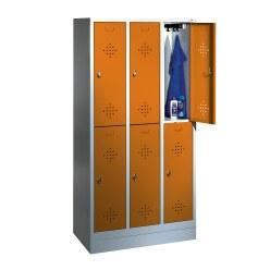"""C+P Doppel-Garderobenschrank """"S 2000 Classic"""", Abteilbreite 30 cm mit 10 cm hohem Sockel Enzianblau (RAL 5010), 180x90x50 cm/ 6 Fächer"""