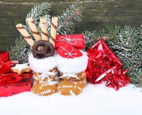Gefüllter Nikolausstiefel im Schnee