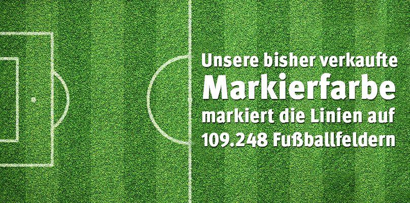 Unsere bisher verkaufte Sport-Thieme Markierfarbe markiert die Linien auf 109.248 Fußballfeldern!