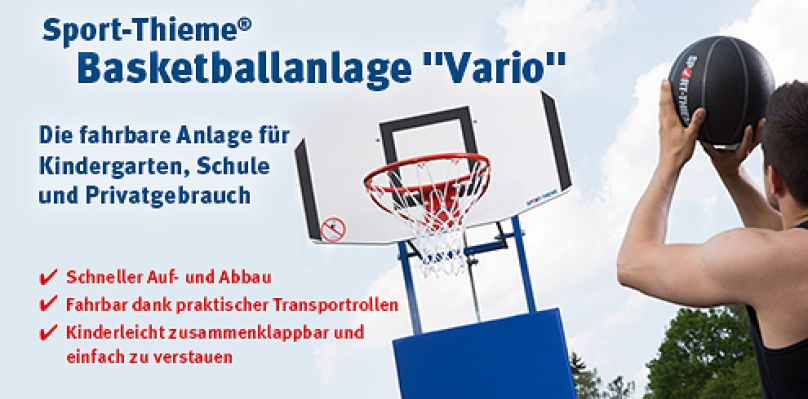 """Sport-Thieme® Basketballanlage """"Vario"""" - Die fahrbare Anlage für Kindergarten, Schule und Privatgebrauch"""