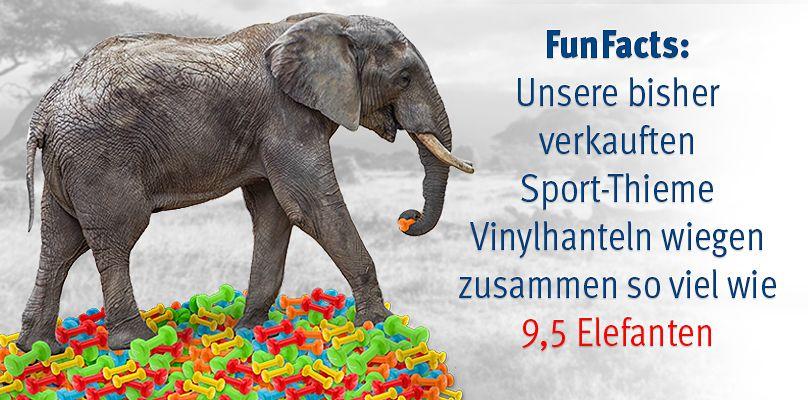 Wussten Sie schon: Ein Elefant wiegt so viel wie 3629 Sport-Thieme® Vinyl Fausthantel zusammen